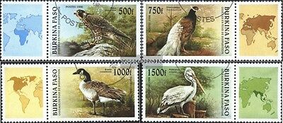 Burkina Faso 1406-1409 with zierfeld mint never hinged mnh 1996 Birds
