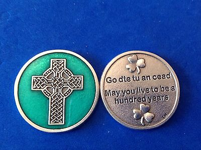 Rare Celtic Cross Irish Pocket Token Enamel May You Live a Hundred Years ☘️
