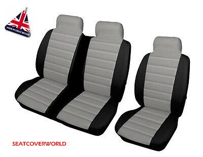 Vw Transporter T4/t5/t6 - Grey/blk Leather Look Padded Van Seat Covers 2+1
