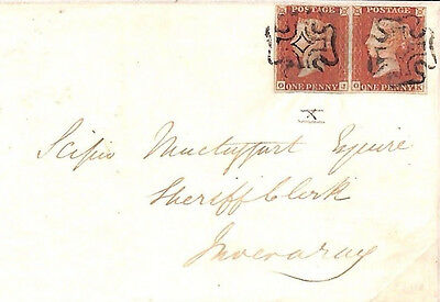 MS2169 1841 GB 1d RED ex BLACK PLATE 10*PAIR* Campbeltown MX Scots Islands Cover