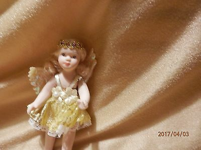 "Porcelain Ballerina Dressed 3"" Angel  Doll"
