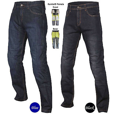 Men's Motorcycle Protective Trousers made with Kevlar Pants Jeans Black or Blue