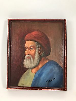OIL PAINTING ON CANVAS OF A MIDDLE EASTERN MAN Signed TRESCON