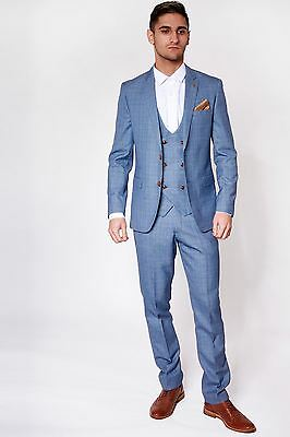 Mens Marc Darcy Designer Light Blue Check Print Three Piece Wedding Summer Suit