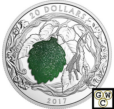 2017Brilliant Birch Leaves with Drusy Stone Prf $20 Silver .9999 Fine(NT)(17842)