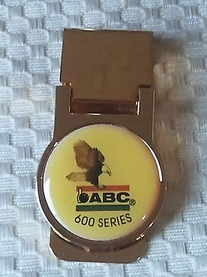 Gold Tone Vintage Bowling Abc 600 Series Money Clip, In Orig Sleeve