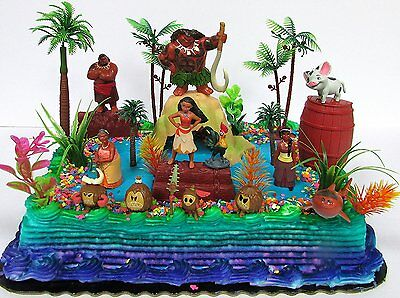 MOANA Birthday Cake Topper Set Featuring Various Characters and Decorative