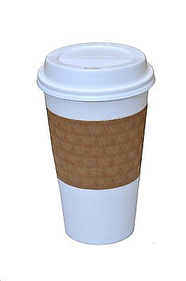 Strong Paper 16 OZ Hot Cups with Lids and Sleeves, Pack of 50