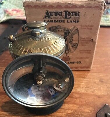 Auto-Lite Vintage Brass Coal Miners Carbide Lamp With Box