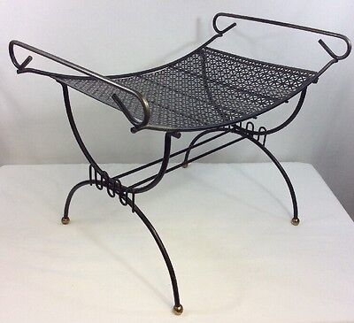 Vintage Bathroom Vanity Chair Boudoir Mid Century Steel Perforated Metal Iron