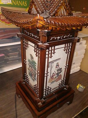 """Rare Estate Find Japanese Pagoda Lamp 27"""" T x 15"""" W. w/ 4 Sided Scenes  115v"""