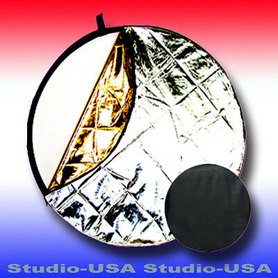 """33"""" ROUND COLLAPSIBLE 5 in 1 DISC PHOTO REFLECTOR PANEL WITH CARRY POUCH"""
