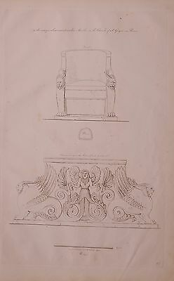 1825 Etching Print Antique Seat White Marble Church Of St Gregoric At Rome