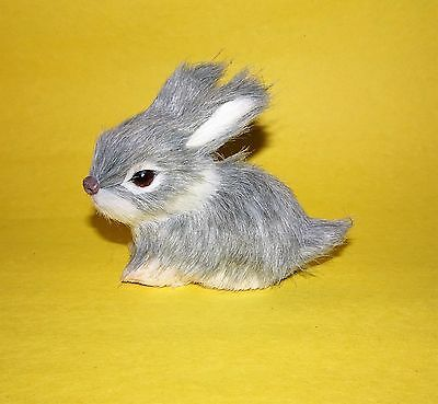Realistic Gray Rabbit Easter Figure Bunny Fur