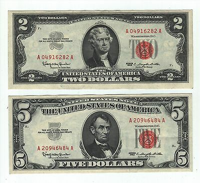 1963 Red Seal Set - $2 Note &  $5 Note