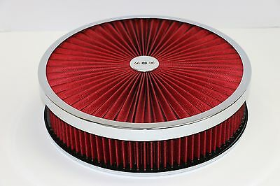"14/"" X 5/"" Round Red High Flow Thru Washable Air Cleaner Flat Base Lid Extreme 350"