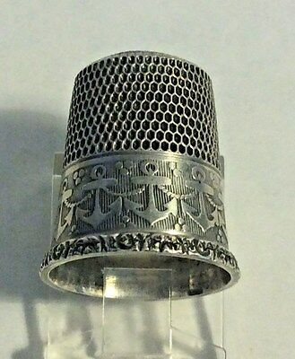 Antique  Sterling Silver Simons Band of Anchor and Rope Thimble Size 9.