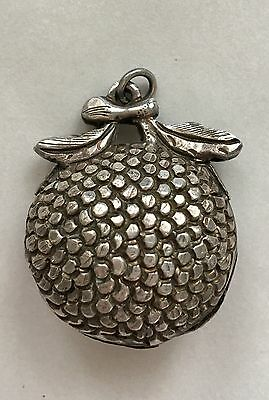 * Old Antique Vintage Chinese Fruit Pure Silver Bell Pendant Charm Amulet