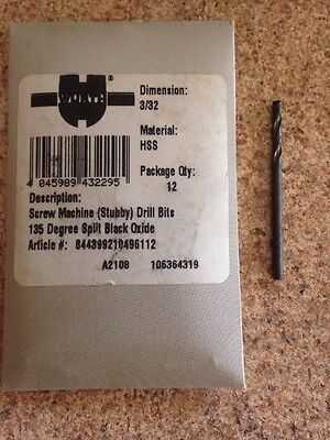 3/32 HSS Screw Machine (Stubby) Drill Bits Made In USA