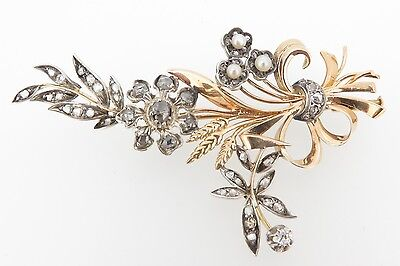 .Large Antique Rose Cut Diamond & Pearl 15ct gold Brooch Val $3800