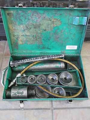 Greenlee #7306 Hydraulic Knockout Driver Punch Set With Case and # 767 Pump