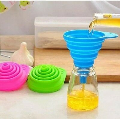 Kitchen Funnel Small Foldable Silicone Gel Hopper Collapsible Oil Liquid