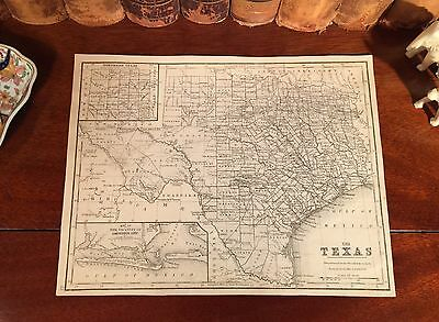Original 1882 Antique Mitchell Map TEXAS Houston Dallas Austin Plano El Paso TX