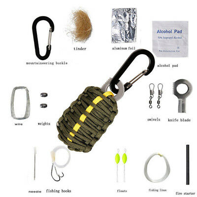 Outdoor Emergency Survival Camping Fishing Paracord Emergency Pack Tools Kit