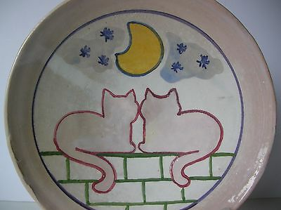 Two Cats on a Fence Under the Moon & Stars-Handcrafted Bowl/Plate made in Italy