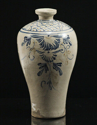 Asian Early 20th Century Porcelain Pottery Blue Hand Painted Mei Ping Vase