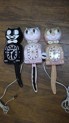 Vintage Lot Of 3 Kit Cat Clock Parts Replacement Not Working