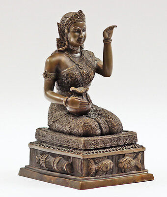 20th C Bronze Buddha Kneeling Statue Thai on Base w Welcoming Pose
