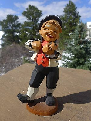 Beautiful Henning Hand Carved Norway  Violin Player Wood Figurine