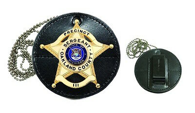 Hero's Pride Round Leather Clip-On Badge Case, Metal Clip & Chain Included