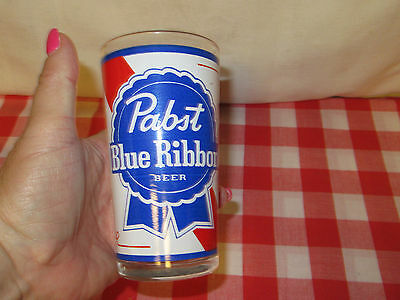 """Vintage """"Pabst Blue Ribbon"""" Beer Drinking Glass - 5"""" Tall"""