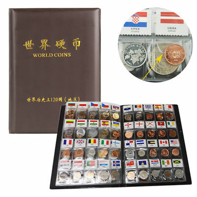 Collection 120 Countries Regions Coins Storage Books World Currency With Flags
