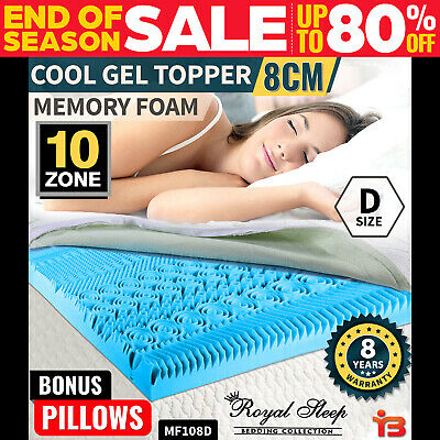 COOL GEL Memory Foam Mattress Topper Bed Double BAMBOO Fabric Cover *10 Zone 8CM