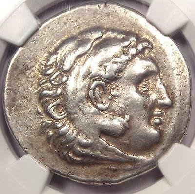 Alexander the Great III AR Tetradrachm Coin Lesbos Mytilene 215 BC - NGC Ch VF!