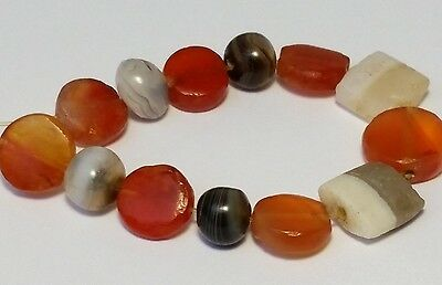 13 Ancient Rare Banded Agate And Tabular Carnelian Beads