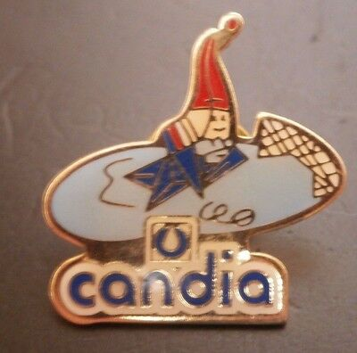 Albertville 92 Olympics Mascot Magique Playing Ice Hockey Candia Pin Badge