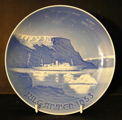 "1953 Bing & Grondahl Christmas Plate - ""Danish Royal Yacht in Greenland Waters"""