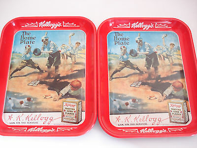 """Vintage Kellogg's """"The Home Plate"""" Serving Tray  Set of Two"""