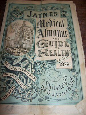 Jaynes Medical Almanac & Guide To Health 1878 H M Winslow Marion Ny