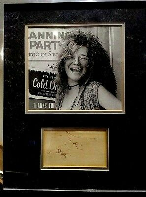 Janis Joplin -  rare autograph. Framed with picture
