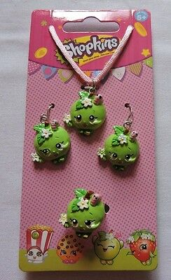 Shopkins Apple Blossom Girls Pretty Necklace Earrings Ring Jewelry Set New!