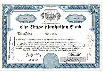 The Chase Manhattan Bank.....1960 Stock Certificate