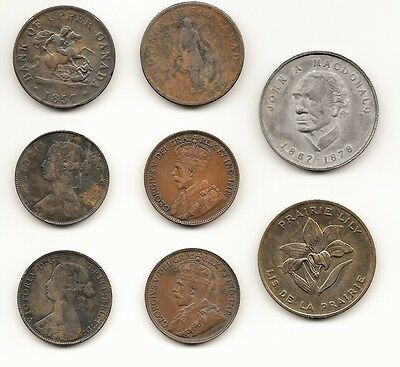 8 vintage Canadian coins 1837 to 1916 Commerative ,half penny,1cent