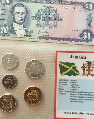 Jamaica Coins & Note Set Unc...