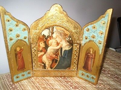 Large Aqua Tole Wood Antique Italian Florentine Botticelli Mary Angels Triptych