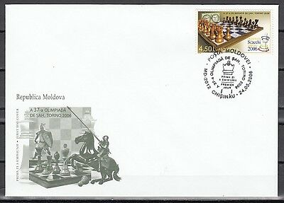 Moldova, Scott cat. 525. 37th Chess Olympiad issue on a First day cover.